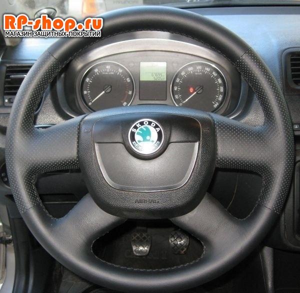 Оплетка на руль включая спицы для Skoda Yeti I (2009-2013) можно выбрать цвет нити - фото 5525