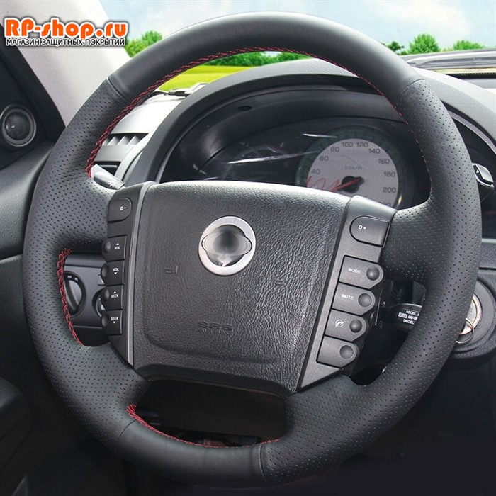 Оплетка на руль включая спицы для SsangYong Actyon 2005-2010 можно выбрать цвет нити - фото 5605