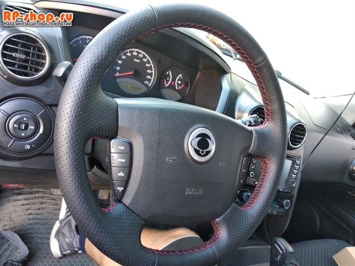 Оплетка на руль включая спицы для SsangYong Actyon Sports I-II 2006-2016 можно выбрать цвет нити - фото 5618