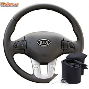 Оплетка на руль включая спицы для Kia Ceed 2010-2012 г.в. можно выбрать цвет нити