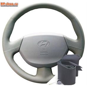 Оплетка на руль Hyundai Accent МТ3, AТ5 с подушкой безопасности серая можно выбрать цвет нити