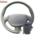 Оплетка на руль Hyundai Accent МТ3, AТ5 с подушкой безопасности серая можно выбрать цвет нити - фото 5886